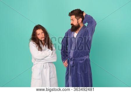 All Day Pajamas. Quarantine Concept. Sleepy People Blue Background. Couple In Love Bathrobes. Sleep