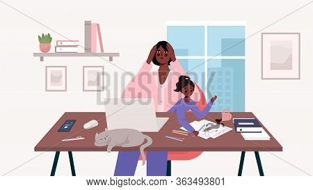 Busy Stressed Mother Sits With A Baby And Works At A Laptop, Multitasking Woman. Home Office. Mother