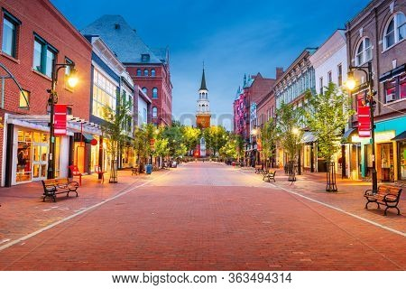 Burlington, Vermont, USA at Church Street Marketplace at twilight.
