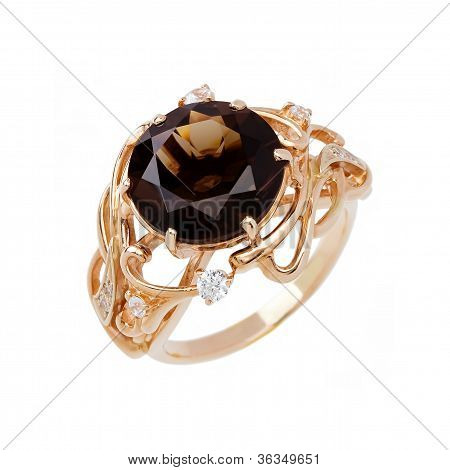 Jewelry Ring Isolated On The White Background
