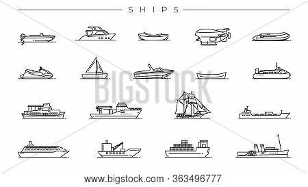 Ships Concept Line Style Vector Icons Set.