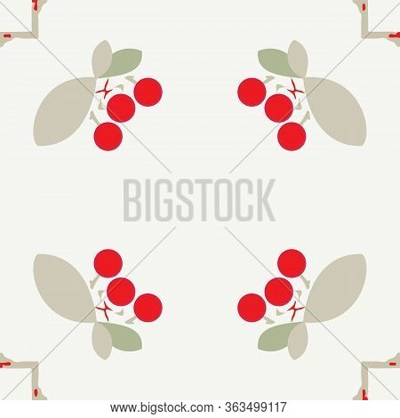 Uncomplicated Arrangement Of Bright Cherries And Square Tiles Seamless Pattern Background.