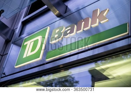 New York, Ny / Usa - April 19 2020: Closed Td Bank Branch Location During Global Covid-19 Coronaviru