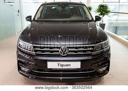 Novosibirsk/ Russia - March 09  2020: Volkswagen Tiguan, Black Volkswagen Tiguan, Front View.  Photo