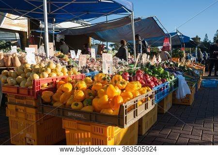 Rotorua New Zealand - July 11 2013; Fresh Produce At Rotorua Farmers Market.