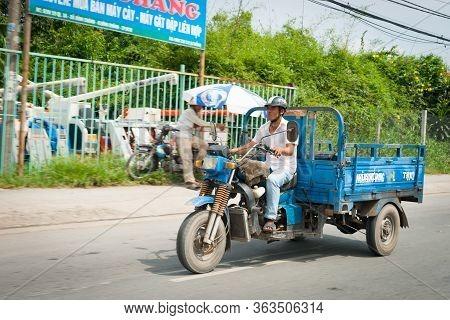 Saigon Vietnam - October 13 2013;  Three Wheeler Tuktuk Mini Truck Typical For Freight Delivery Arou