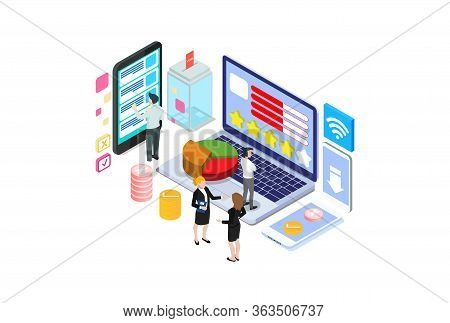Modern 3d Isometric Vector Concept Voting Online, E-voting, Election Internet System. Concept Of Onl