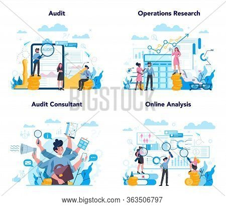 Audit Concept Set. Business Operation Research And Analysis. Financial