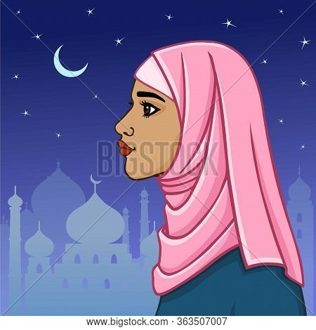 Beautiful Muslim Woman In A Hijab On A The Night City Background. Profile View.