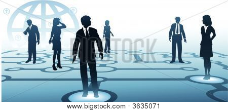Business People Connect On Communications Node Network