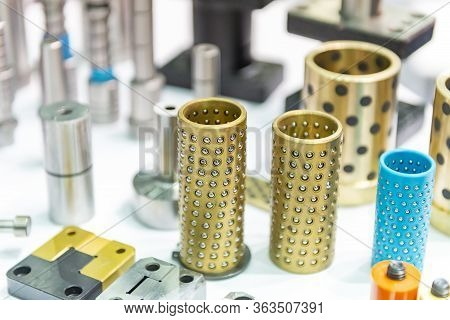 Close-up Scene Of Various Type Of Guide Bush, Brass Ball Bearing,plastic Bearing Guide Bush And Pres