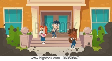 Kids Cough From Air Pollution. Black Smog Clouds In Front Of School. Vector Cartoon Illustration Of