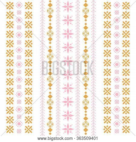 Modern Style Of Embroidery Pattern For Cafe Design.