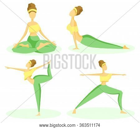 Vector Set Of Flat Illustrations. The Girl Practices Yoga, Different Positions And Yoga Asanas. The