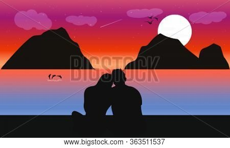 Image Silhouette Twilight With The Couple On The Beach And Moon Background, Design Vector Illustrati