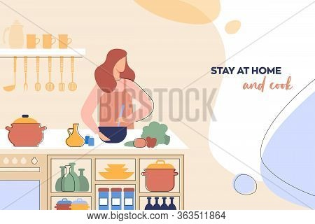 Layout Of A Leaflet With The Concept Of Home Cooking The Woman Prepares Healthy Food In The Kitchen.