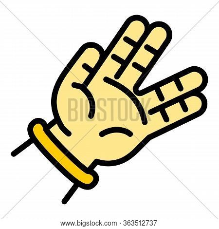 Hiphop Hand Sign Icon. Outline Hiphop Hand Sign Vector Icon For Web Design Isolated On White Backgro