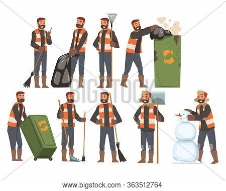 Man Janitor Sweeping And Gathering Garbage Set, Male Professional Cleaning Staff Character Wearing O