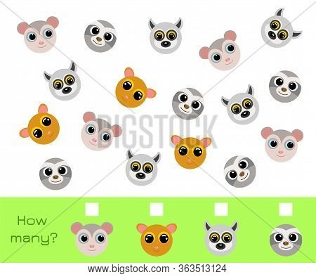 Counting Game For Children With Pictures. Educational Game For Preschool Years Kids And Toddlers. De