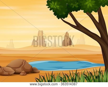 Background Scene With Water Hole On The Desert