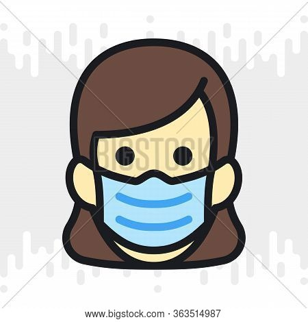 Woman In Medical Face Protection Mask. Protective Surgical Mask Icon. Simple Color Version On Light
