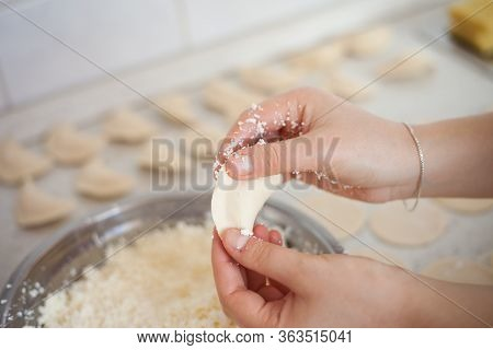 Young Woman Hands Making Some Ukrainian Vareniks, Handmade, Cooking Ukrainian Food