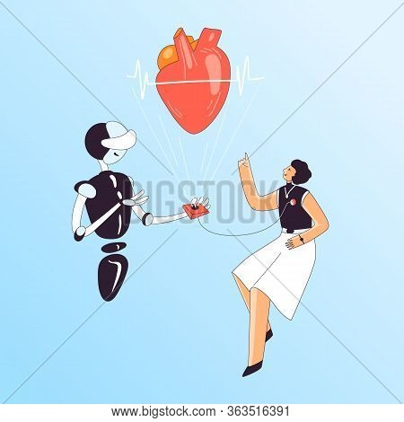 Heart Health Medical Checkup Vector Illustration - Woman With Heart Sensor And Ai Cardiologist Robot