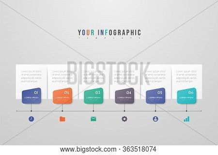 Infographic Design With Icons And 6 Options Or Steps. Infographics Business Concept. Can Be Used For