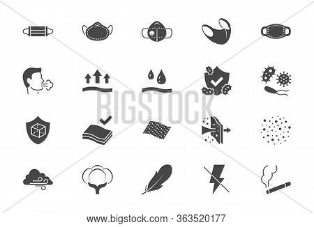 Medical Masks Flat Icons. Vector Illustration Included Icon As N95 Respirator Mask, External Influen