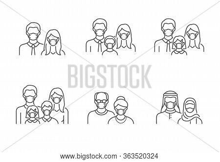 People Avatar Flat Icons. Vector Illustration Included Icon As Man, Female Head, Muslim, Senior, Fam