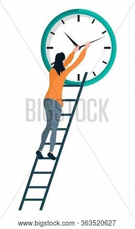 Woman With Ladder Repairing Big Clock Isolated Cartoon Person. Vector Female Tries To Manage Time, T