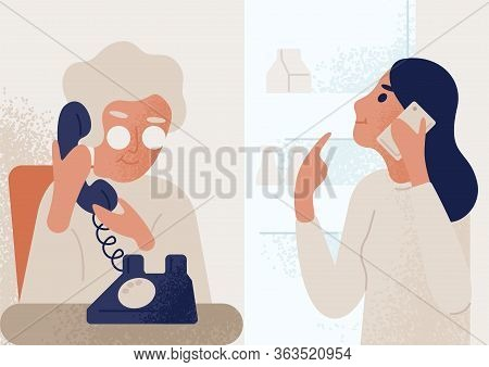 Smiling Granddaughter Talking To Elderly Mother Or Granny On Telephone. Family Distant Communication