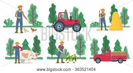 Farming And Agriculture, Poultry And Livestock, Harvest Vector. Farmer Feeding Chicken, Tractor And