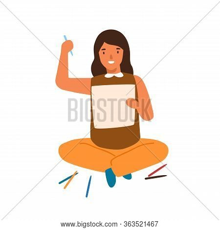 Smiling Cartoon Girl Painting Picture On Paper Vector Flat Illustration. Happy Female Kid Enjoying H
