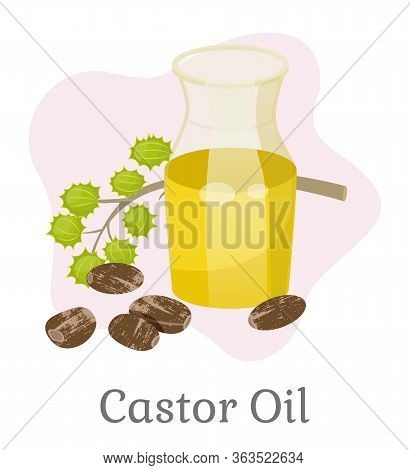 Glass Bottle With Castor Oil For Hair Treatment Or Growth. Organic And Natural Ingredient For Cosmet
