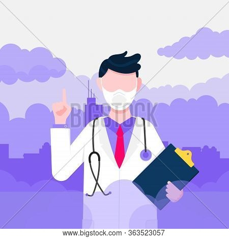 Confused Man Doctor In Mask Against Smog. Fine Dust, Air Pollution, Industrial Smog Protection Conce