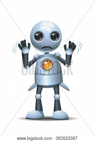 3d Illustration Of  Little Robot Working Poor People Concept Going To Broke On Isolated White Backgr