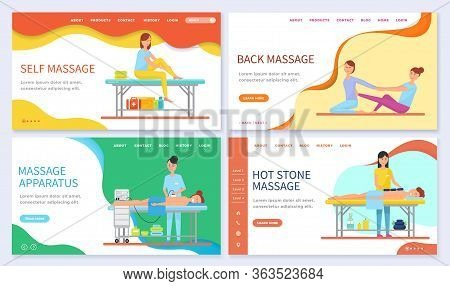 Set Of Massage Techniques And Types. Self And Back Massage, Relaxation For Clients With Help Of Hot