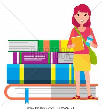 Girl With Copybook, Beverage And Handbag Ready For Studying. Young Student Stand Near Big Hardcover