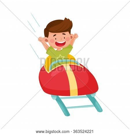 Little Boy Having Fairground Ride Raising His Hands Up And Laughing Vector Illustration