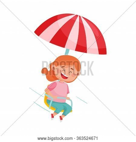Red Haired Girl Having Fairground Ride And Laughing Vector Illustration