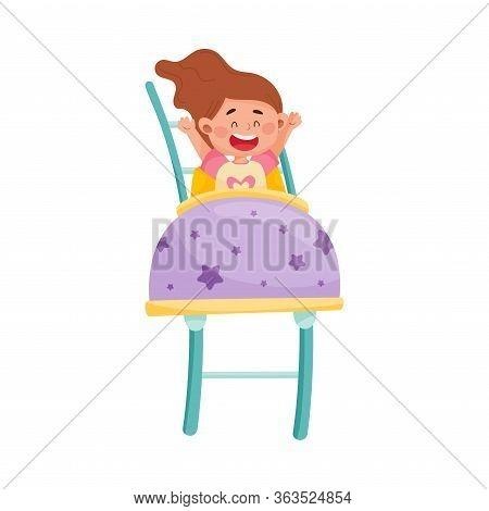 Little Girl Having Fairground Ride Raising Her Hands Up And Laughing Vector Illustration