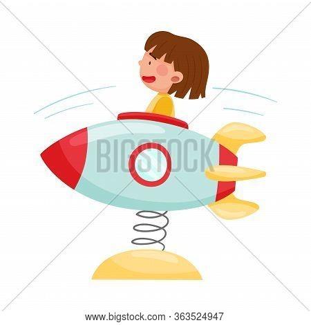 Joyful Girl Having Fairground Ride On Bouncing Rocket Vector Illustration