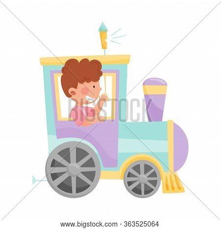 Cheerful Boy Riding Toy Train Or Having Fairground Ride Vector Illustration