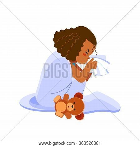 Little African American Girl Has Flu, Child Sneezes Into A Handkerchief. Sick Child Girl Sitting In