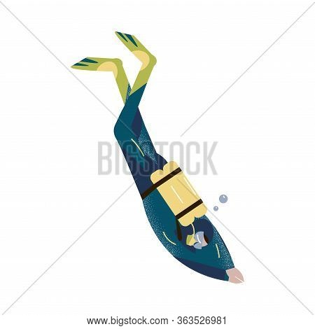 Scuba Diver Swimming Underwater And Diving Deep In Deep-sea Or Ocean. Vector Illustration In The Fla