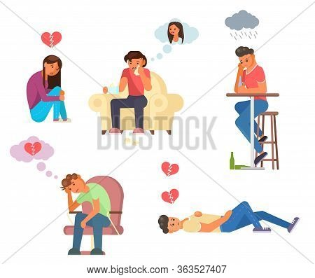 Unhappy Love Relationship Vector Flat Isolated Illustration