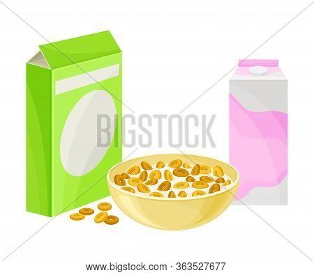 Bowl Of Crispy Cereal Or Muesli With Carton Of Milk Rested Nearby Vector Composition