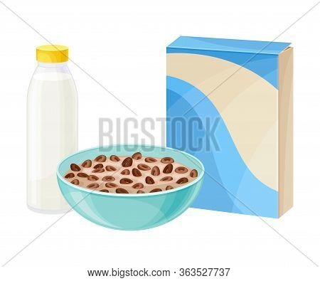 Bowl Of Chocolate Crispy Cereal Or Muesli With Bottle Of Milk Rested Nearby Vector Composition
