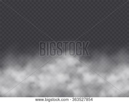 Fog Or Smoke Isolated On Transparent Background. Realistic Smog, Haze, Mist Or Cloudiness Effect.